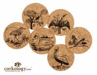 "4"" Set of 6 Coastal Bird Cork Coasters"