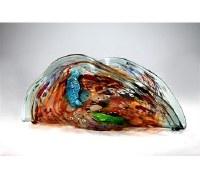 "22"" Aqua, Brown & Green Folded Glass Mosaic"