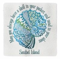 "4"" Square Shell In Pocket Sanibel Island Coaster"