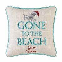 """10"""" Square Gone To The Beach Santa Pillow"""