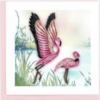 """6"""" x 6"""" Quilling Flamingo Greeting Card"""