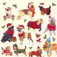 "5"" Christmas Dogs Beveage Napkins"