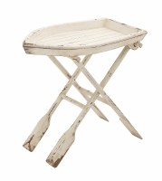 "28"" Distressed White Finish Folding Boat Oars Tray Table"