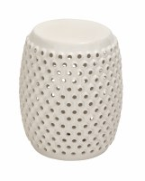 "18"" White Round Stool with Holes"