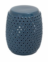 """18"""" Blue Round Stool with Holes"""