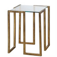 "16"" Square Gold Metal & Glass Table"