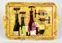 "9"" x 13"" Medium Curved Handle Melamine Wine Bottles Tray"