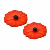 """4"""" Set of 2 Mini Red Silicone Poppy Flower Lids"""