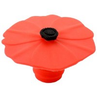 "2"" Red Silicone Poppy Flower Bottle Stopper"