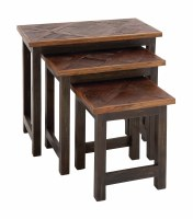 Set of 3 Brown Inlaid Wood Nesting Tables