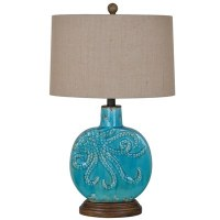 "25"" Turquoise Octopus Lamp"