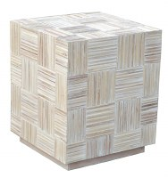 "24"" Square Whitewashed Mosaic End Table"