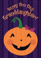 "7"" Happy Halloween Pumpkin Card for Granddaughter"