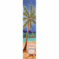 """2"""" x 8.5"""" Palm White Chair With Boat Tile"""