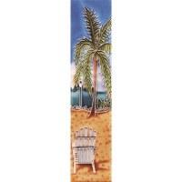 """2"""" x 8.5"""" Palm White Chair Tile"""