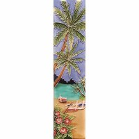 """2"""" x 8.5"""" Palm With Boats Tile"""