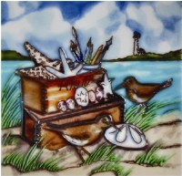 """6"""" x 6"""" Sea Chest & Sandpipers Painted Tile"""
