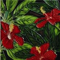 "6"" x 6"" Red Hibiscus Trio Painted Tile"