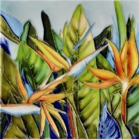 """6"""" x 6"""" Bird of Paradise Painted Tile"""