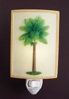 "6"" Green Coconut Palm on Beige Night Light"