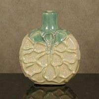 "10"" Cream & Green Ceramic Flat Flower Vase"
