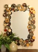 "40 x 31"" Metal Frame Multicolor Circles Mirror"