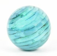 "5"" Turquoise and Blue Striped Glass Orb"
