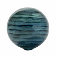"4"" Round Turquoise and Blue Striped Painted Glass Orb"