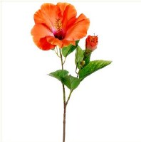 "26"" Orange & Pink Artificial Hibiscus Flower"