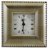 "4"" Square Metallic Gold Block Notched Edge Clock"