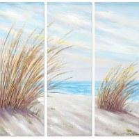 """48"""" Set of 3 Beach Grass Panel Canvas"""