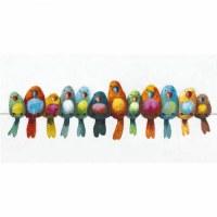 """24 x 48"""" Multicolor Birds on Wire Canvas"""