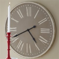 """36"""" Taupe & Distressed White Finish Wood Clock"""