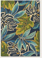"""66"""" x 39"""" Azure & Forest Green Areca Palms Rug"""