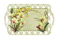 """12"""" x 19"""" White and Sage Orchids Melamine Serving Tray"""