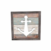 "15"" x 15"" Weathered Slat Wood Anchor Cutout Plaque"