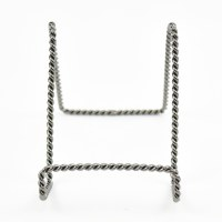 "4"" Twisted Distressed Silver Metal Finish Wire Plate Stand"