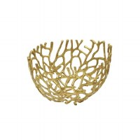 "14"" Large Gold Coral Openwork Metal Bowl"
