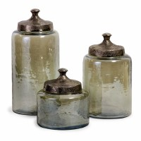 "13"" Set of 3 Green Glass Canisters"