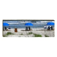 """6"""" x 18"""" Blue Beach Umbrellas Plaque"""