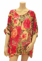 "32"" Medium Hibiscus Impressions Poly-Chiffon Cover Up"