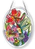 "5"" x 3"" Small Oval Multicolor Daylilies Hummingbird Glass Suncatcher"