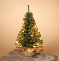 "18"" Electric Lit Faux Green Pine Tree with Burlap Base"