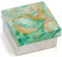"""3"""" Square Painted Capiz Mermaid Box"""
