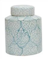 "10"" Blue & White Scrollwork Cylinder Jar"