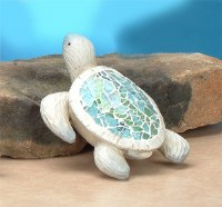 "5"" White & Aqua Crackle Shell Sea Turtle"