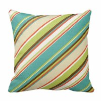 """16"""" Square Amber, Green & Brown Striped Pillow"""