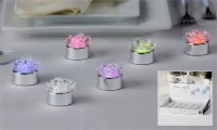 "1"" Silver & Clear Multicolor LED Flower Tealight"