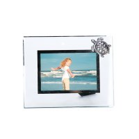 "4"" x 6"" Glass and Mirror Silver Pewter Sea Turtle Photo Frame"