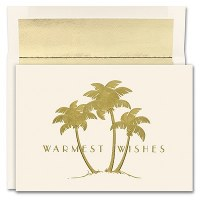 "6"" x 8"" Box of 18 Three Gold Palms Christmas Greeting Cards"